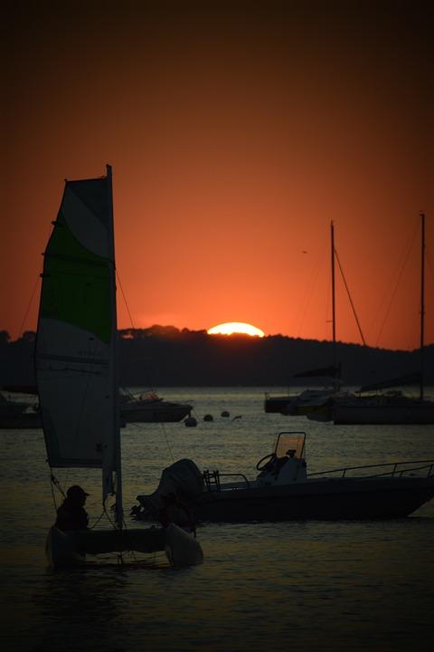 Sea, Sunset, Boats, Silhouette, Ocean, Nature