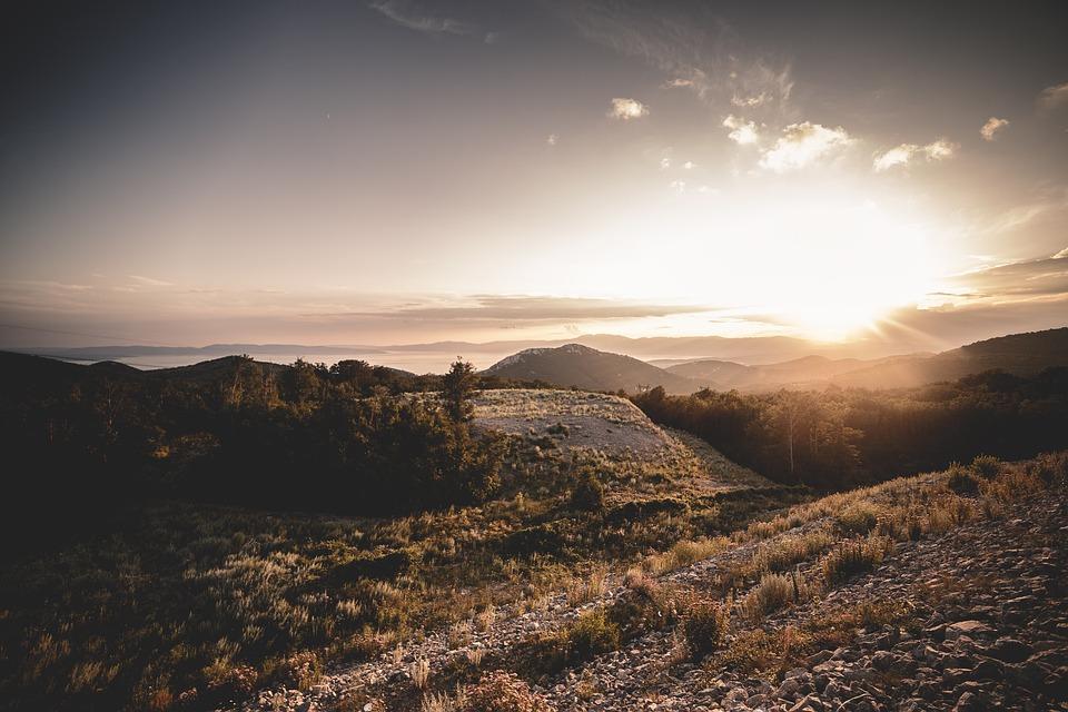 Mountains, Sunset, Orange, Nature, Landscape, Peak