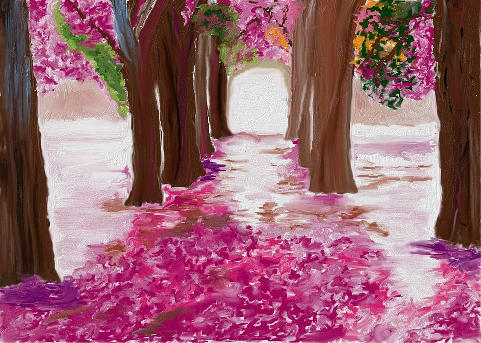 Spring, Forest, Abstract, Nature, Painting, Plant
