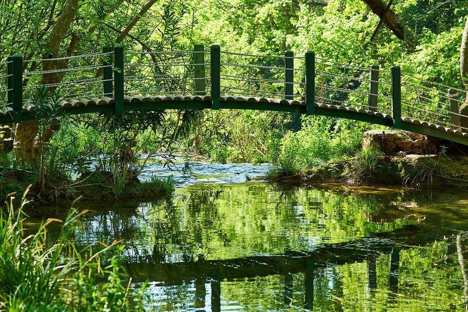 Nature, Park, River, Waterfall, Water, Reflection