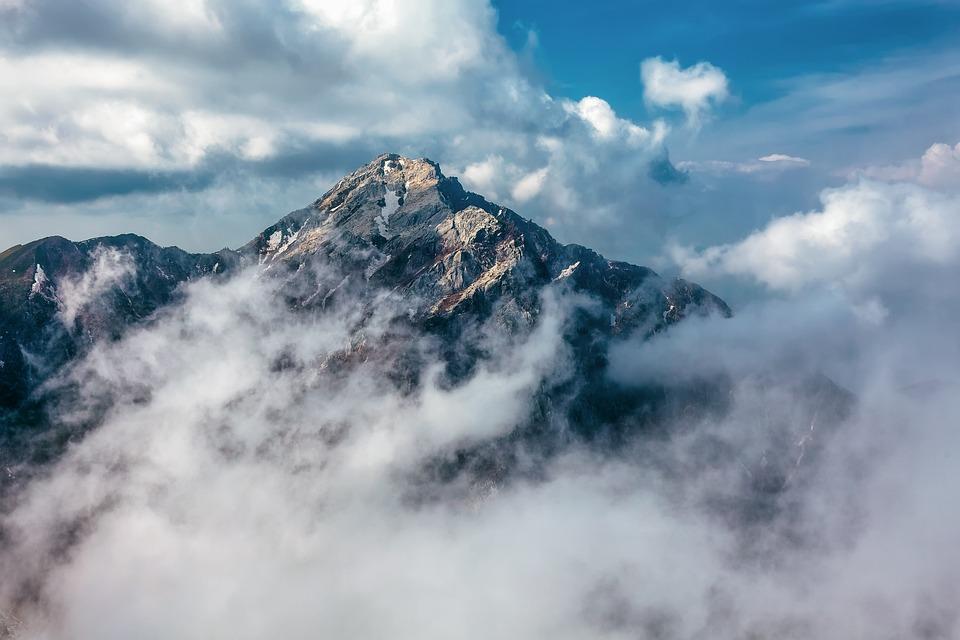 Mountain, Summit, Clouds, Peak, Landscape, Nature