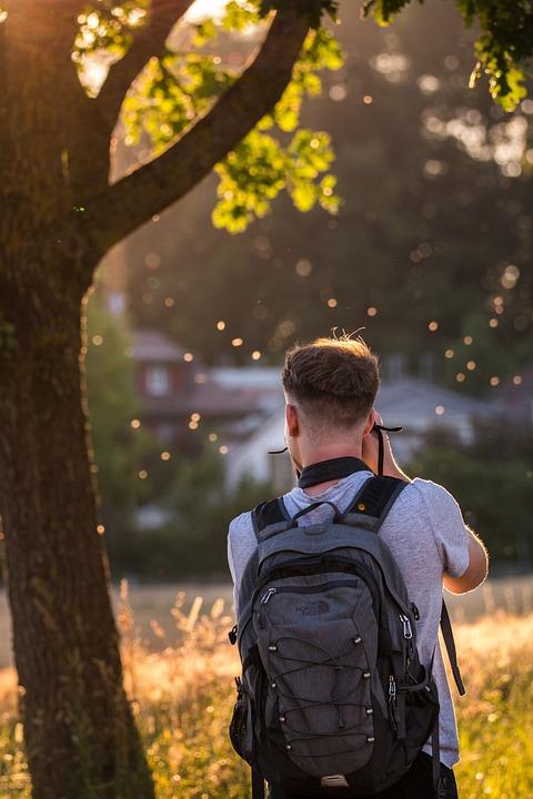 Nature Photographer, Back Light, Young Man
