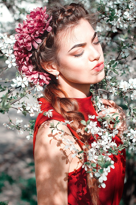 Flower, Lovely, Nature, Portrait, Woman, Wreath, People