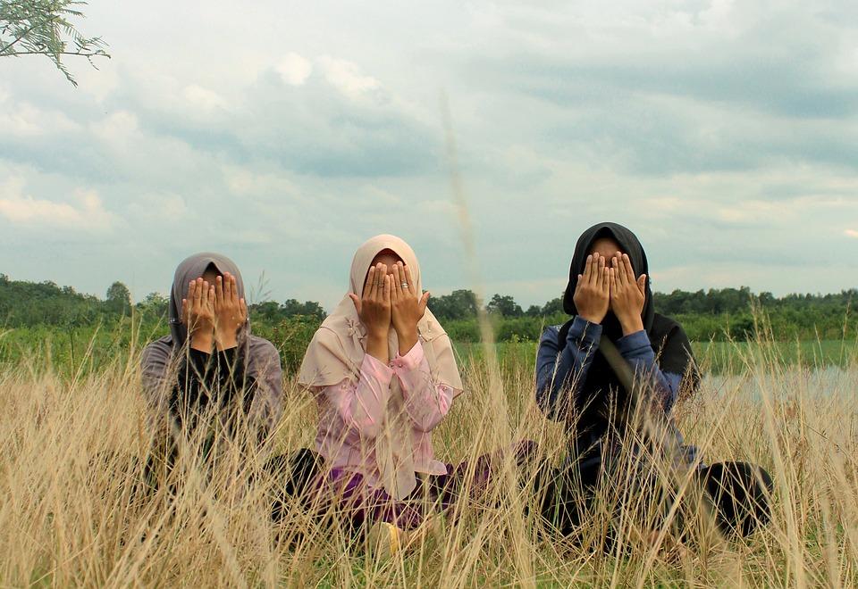 Hijab, Muslim, Portrait, Women, Nature, Man