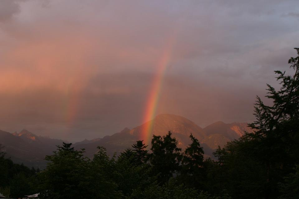 Rainbow, Abendstimmung, Sky, Nature, Weather, Mood