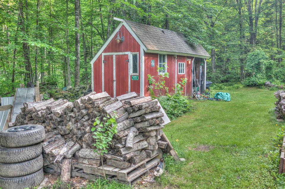 Red Shed, Architecture, Vermont, New England, Nature