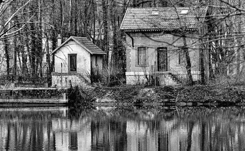 River, House, Black And White, Nature, Reflection