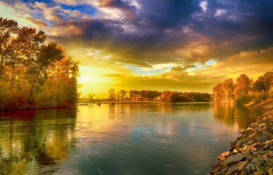 Landscape, Lake, Sun, Sky, Nature, Water, Reflection