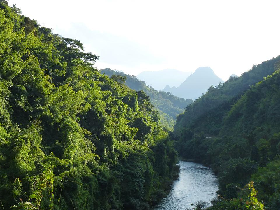 Laos, River, Landscape, Mountains, Nature, Idyllic