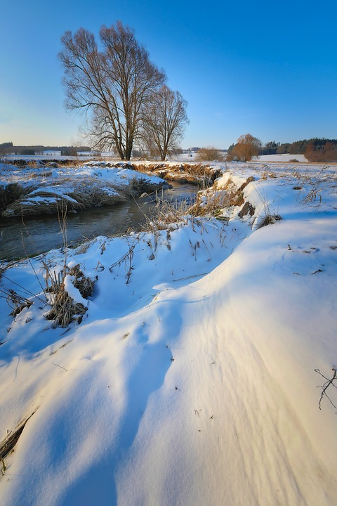 Nature, Winter, Snow, Landscape, Sky, Cold, Bach, River