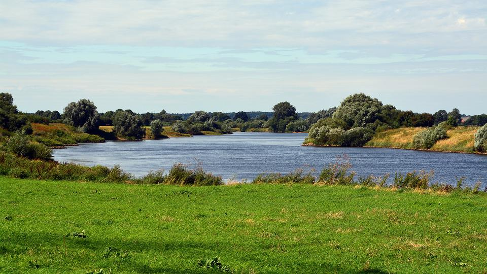 River, Landscape, Weser, Nature, Water, Panorama