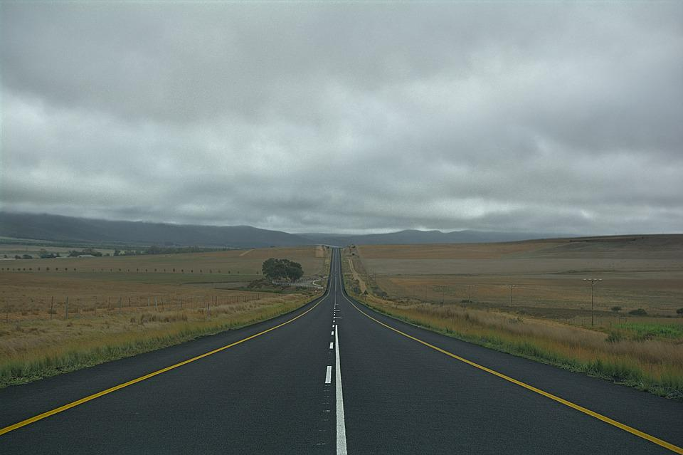 Road, Straight, Long, Grey, Cloudy, Sky, Nature