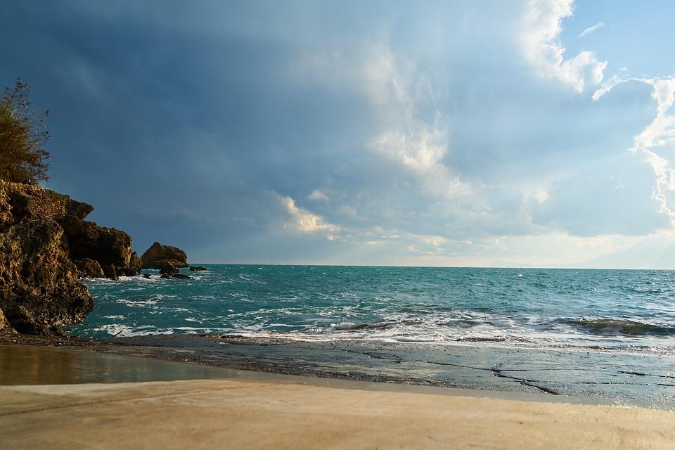 Rocks, Landscape, Clouds, Marine, Background, Nature
