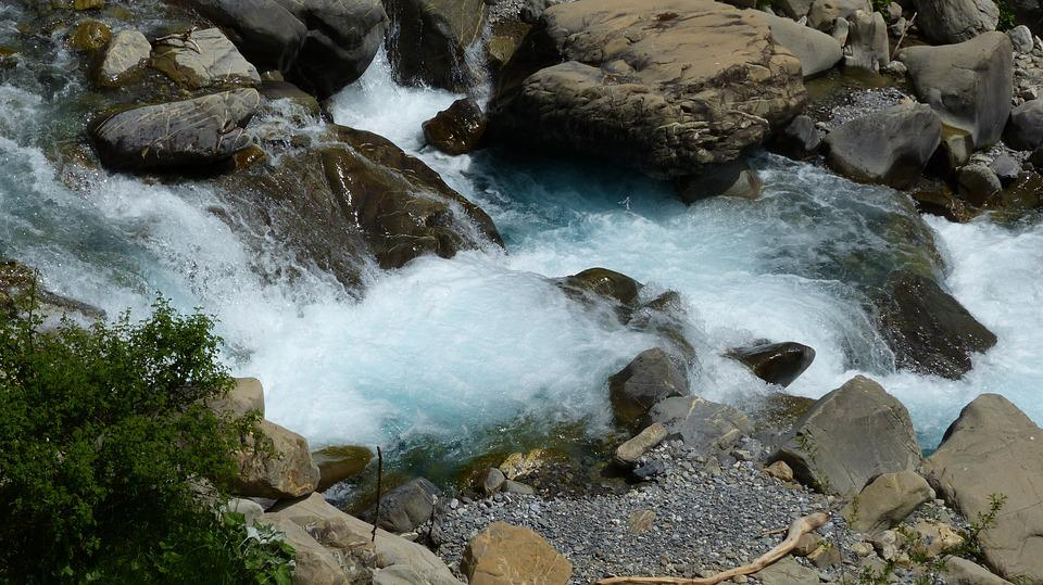 Water, Torrent, Current, Mountain, Nature, Rocks