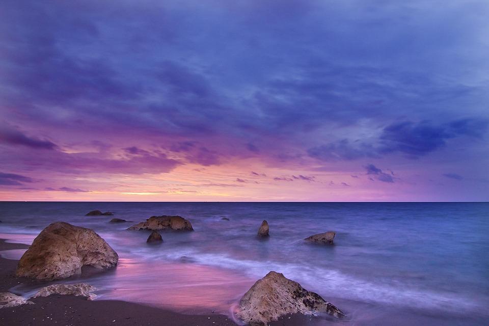 Beach, Dawn, Dusk, Nature, Ocean, Outdoors, Rocks, Sand
