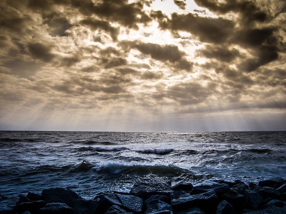 Sky, Clouds, Landscapes, Blue, Nature, View, Sea, Ocean