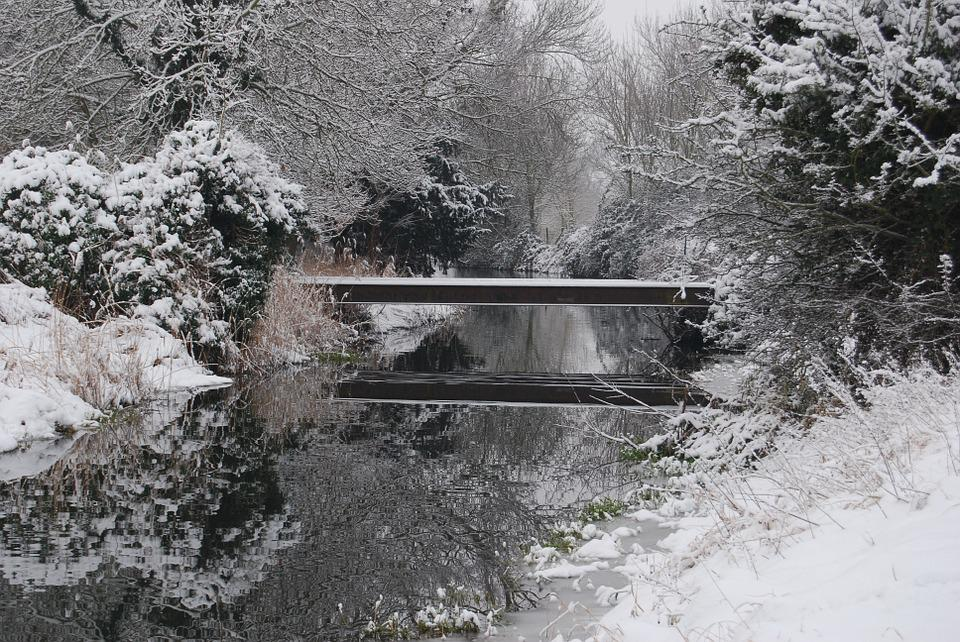 Winter, Snow, Season, Nature, Bridge, Stream, Cold