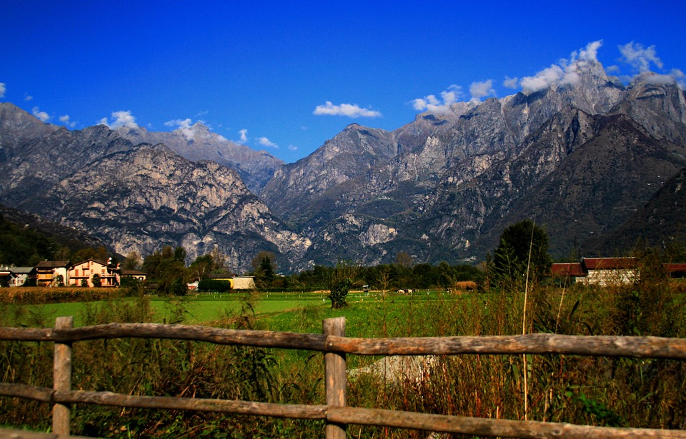 Mountains, Nature, View, Landscape, Fence, Sky, Green