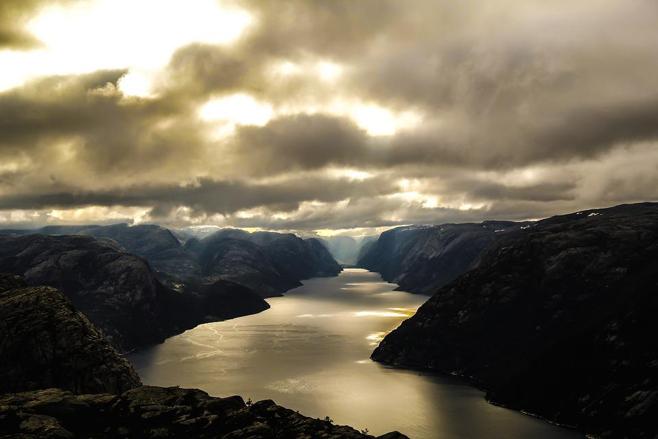 Fjord, Mountains, Lysefjord, River, Sky, Clouds, Nature