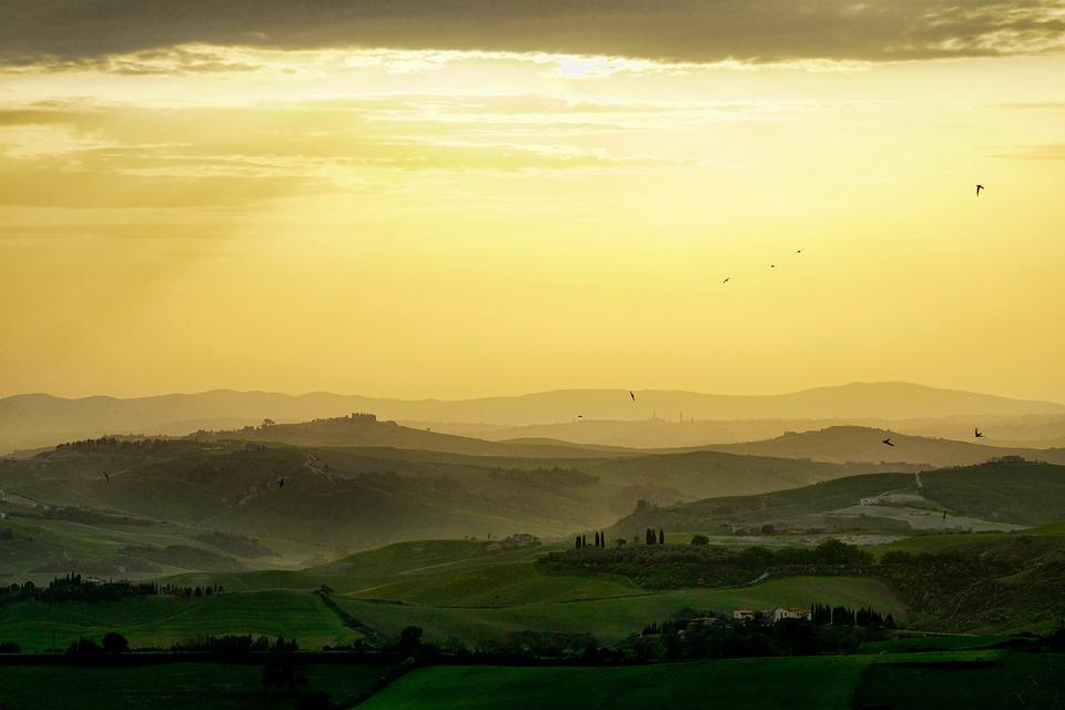 Tuscany, Landscape, Nature, Horizontal, Panorama, Sky