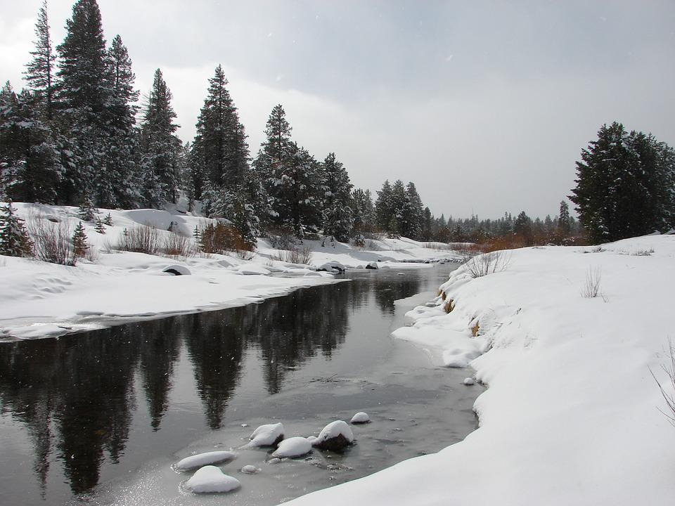 River, Snow, Nature, Landscape, Winter, Water, Sky