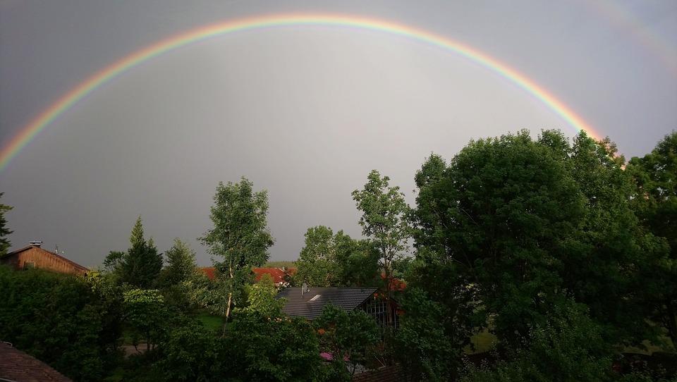 Summer Thunderstorm, Thunderstorm, Rainbow, Sky, Nature