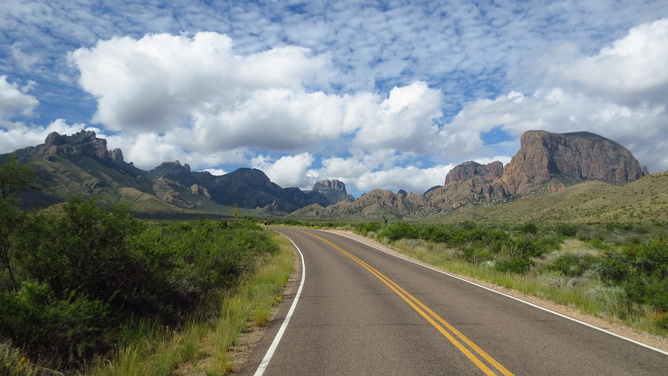 Road, Nature, Travel, Sky, Asphalt, Chisos Mountains