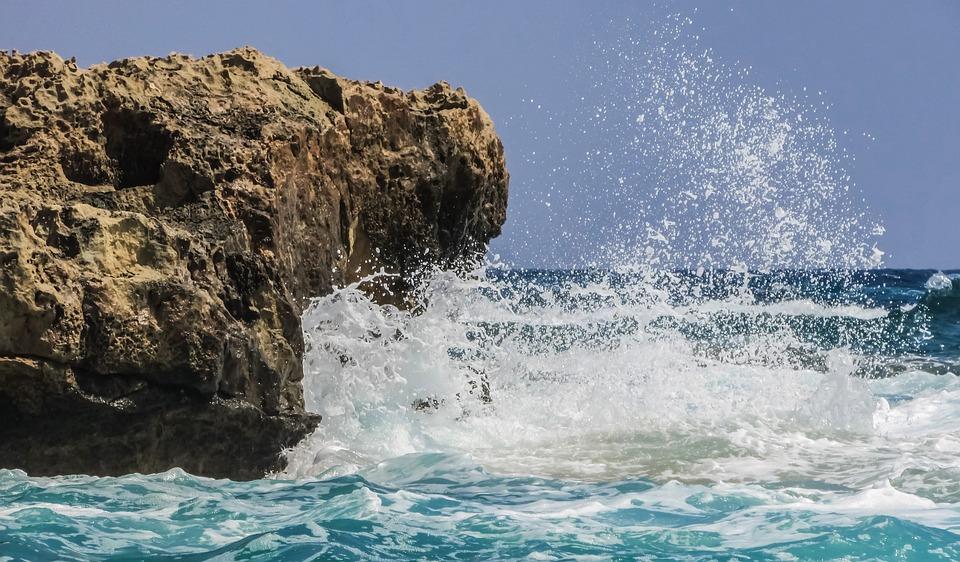 Rock, Wave, Smashing, Sea, Blue, Nature, Coast, Scenic