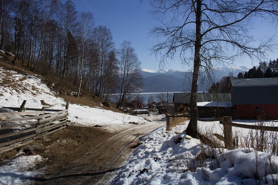 Spring, Snow, Nature, Tree, Village, Road, Mountains