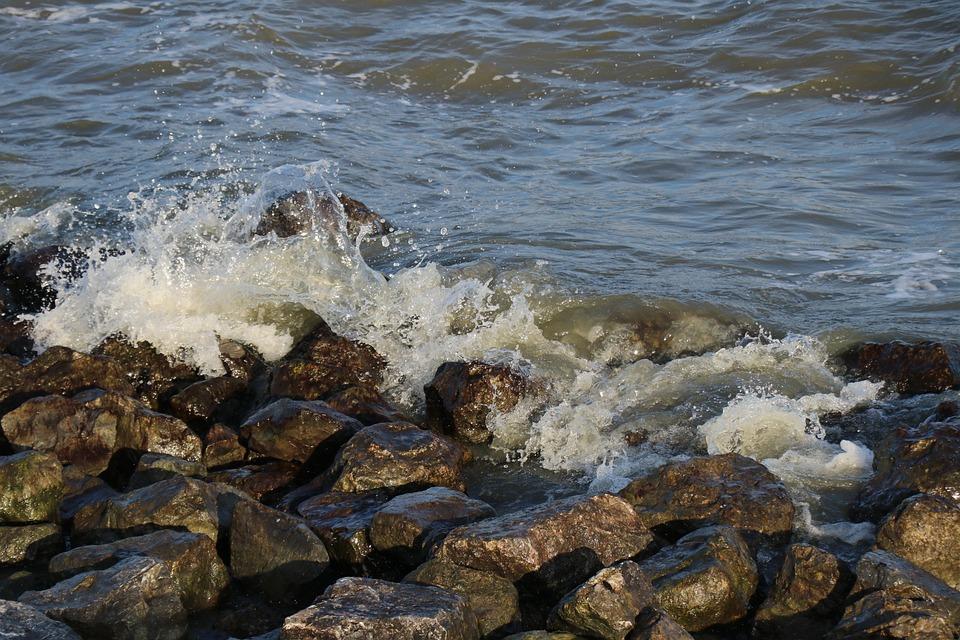 Water, Nature, Billow, Breakwater, Spray, Stones