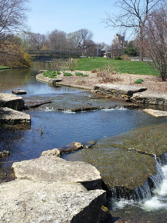 Franklin Park, Creek, Pond, Waterfall, Nature, Stream