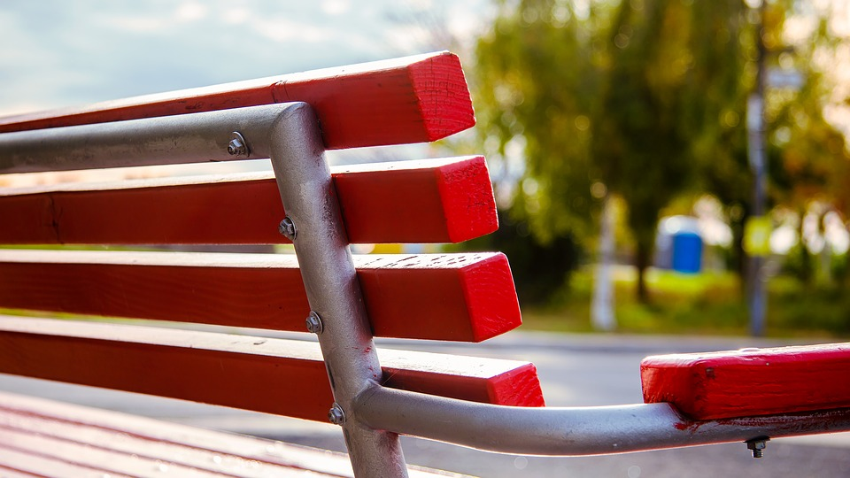 Red, Bench, Park, Nature, Summer, Wood, Sitting, Seat