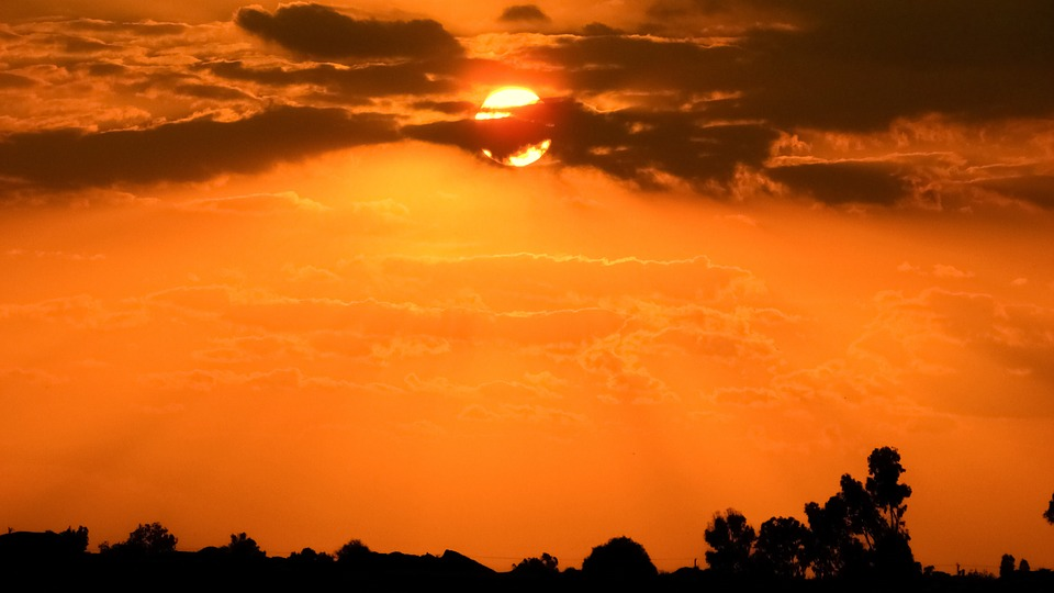 Sunset, Sun, Clouds, Evening, Sunlight, Nature