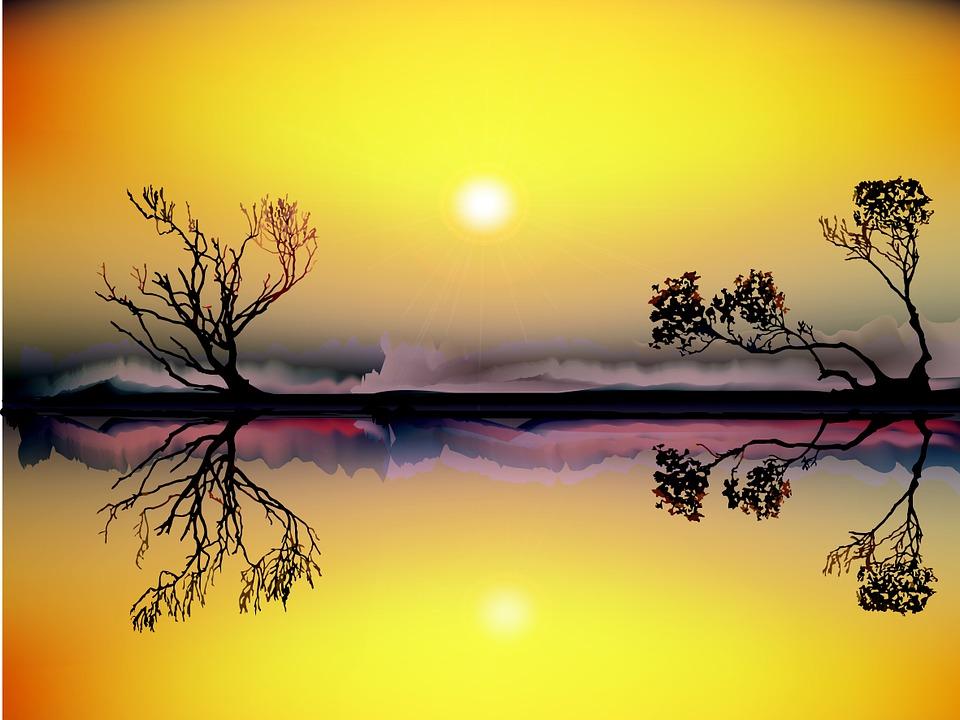 Landscape, Sunset, River, Nature, Sun
