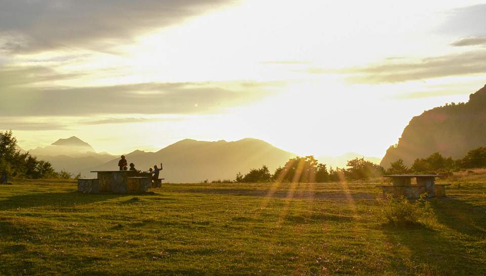 Sunset, Family, Silhouette, Nature, Sun