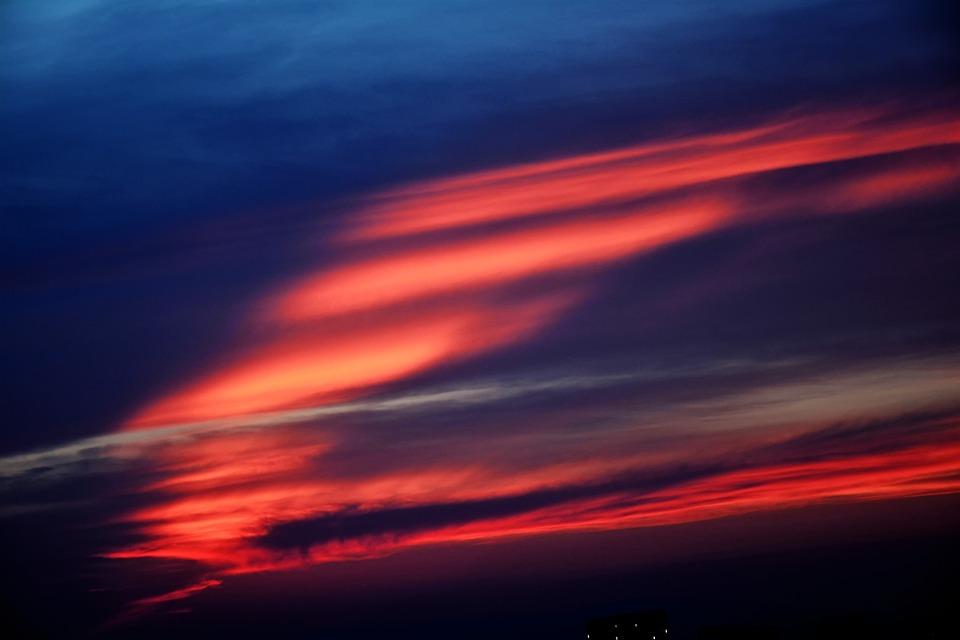 Solar, Sunset, Sky, Clouds, Landscape, Nature, Red