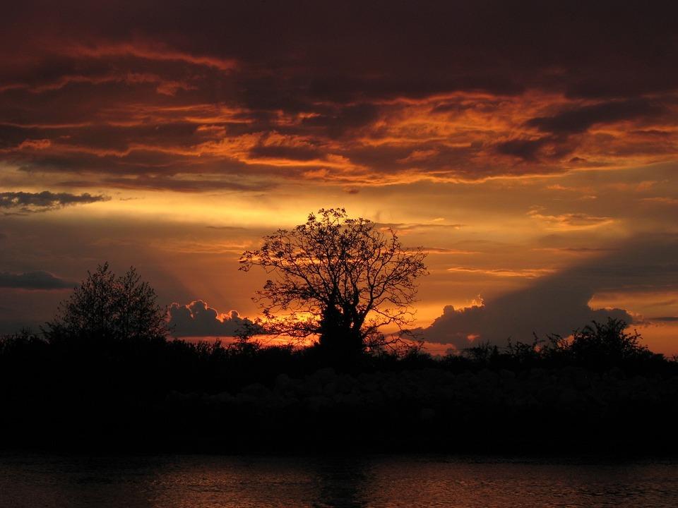 Sunset, Landscape, Sun, Nature, France
