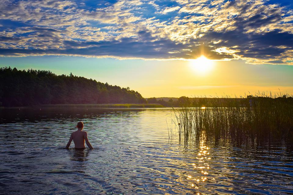 Man, Lake, Pond, Sunset, Loneliness, Nature, Mountains