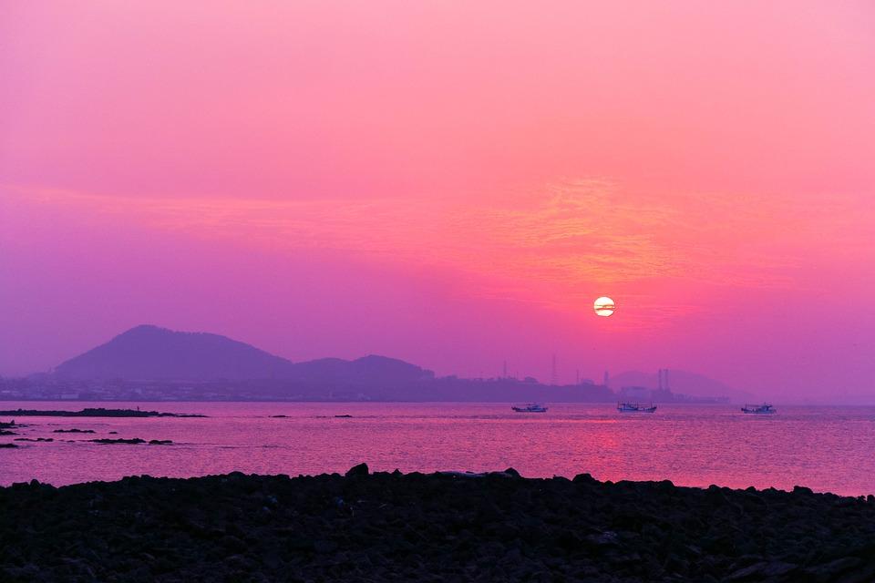 Sunset, Glow, Nature, Scenery, Sea, Beach, Travel
