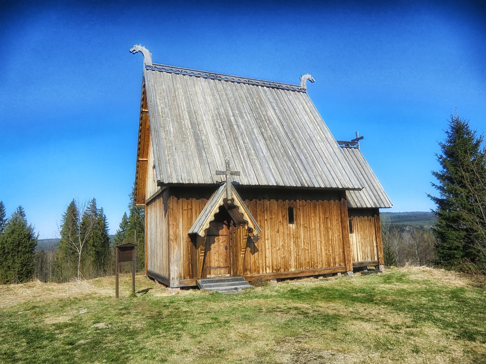 Sweden, Church, Wood, Wooden, Sky, Nature, Trees, Rural