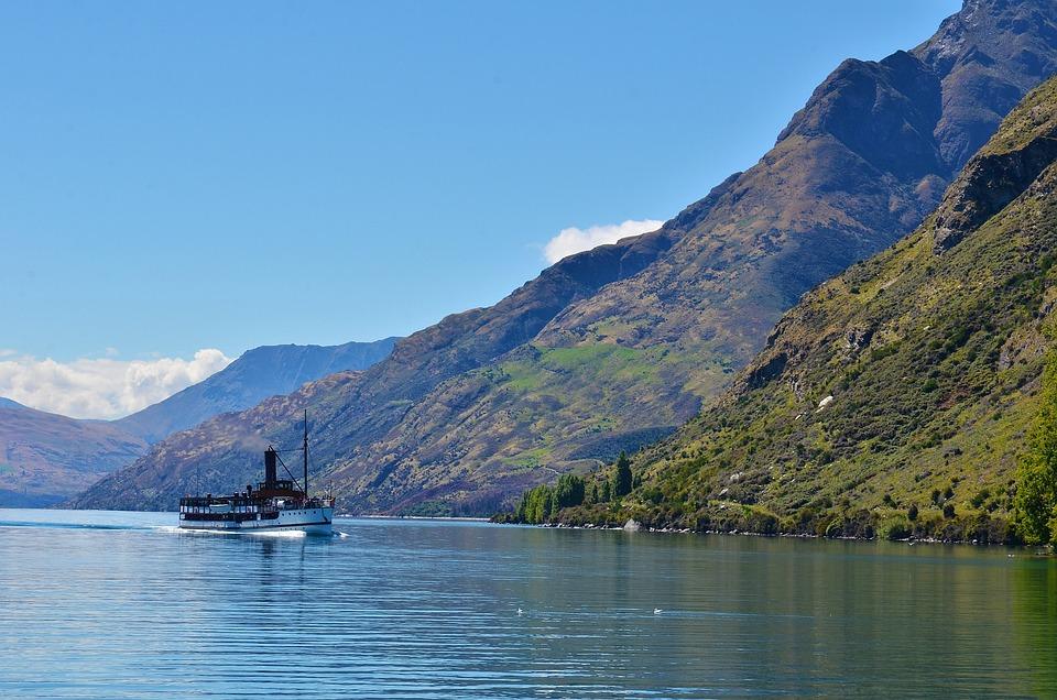 Lake, The Scenery, Ship, Water, Mountain, Nature