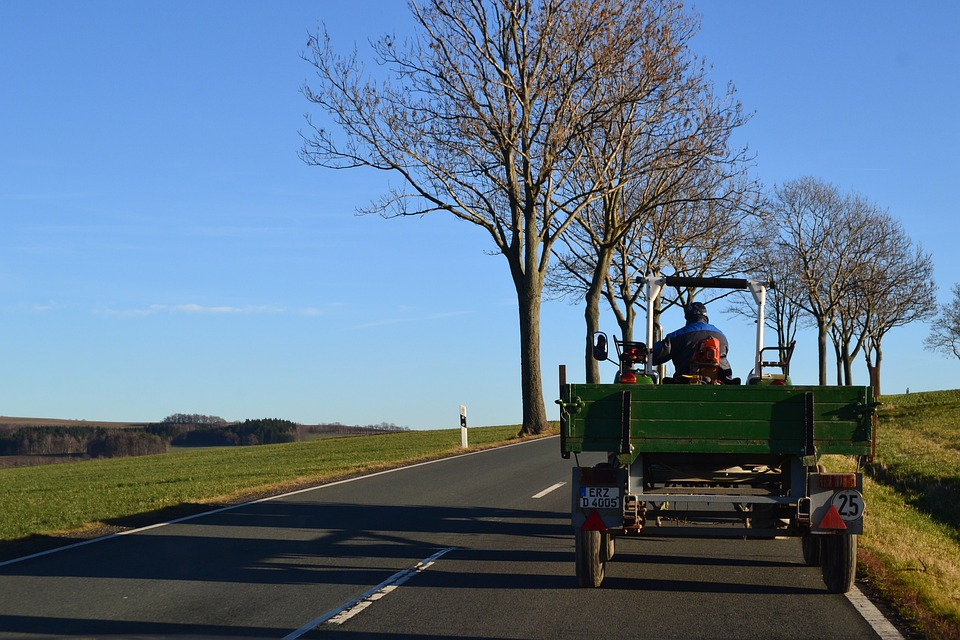 Tractor, Sky, Blue, Village, Trees, Nature, Road