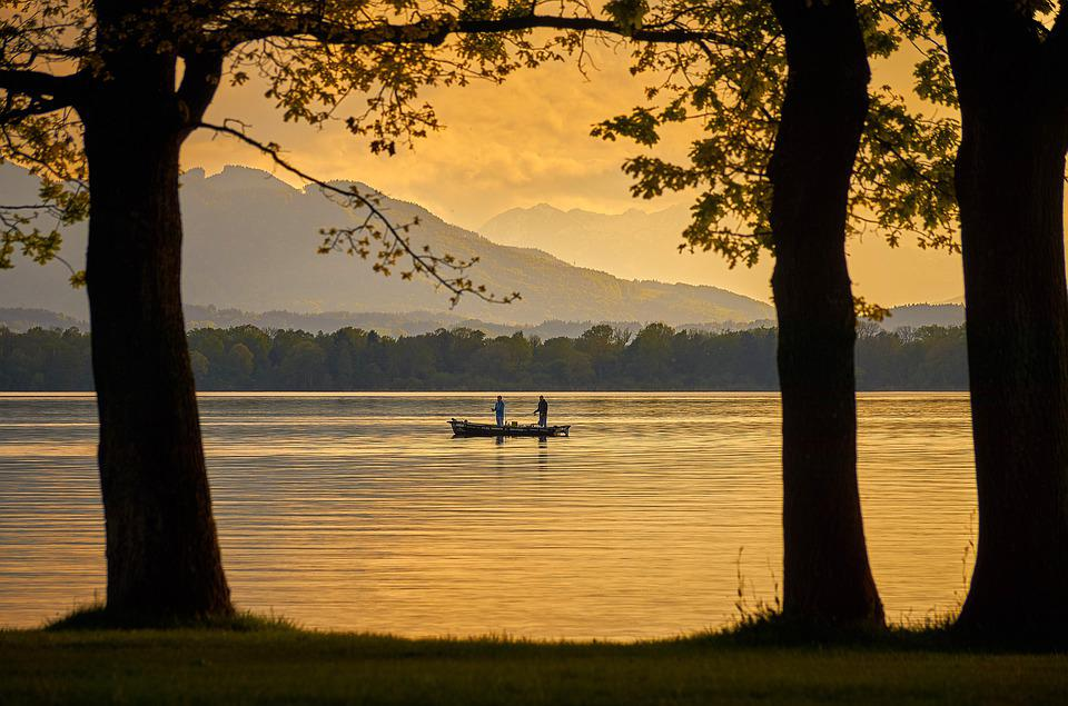 Boat, Water, Nature, Lake, Evening, Light, Trees