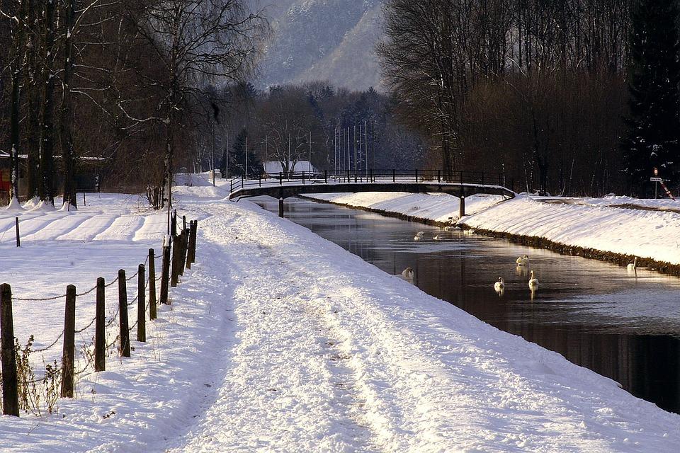 Channel, Snow, Bridge, Nature, Water