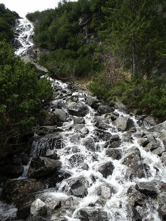 Mountains, Waterfall, Tatry, Nature, Water, Poland