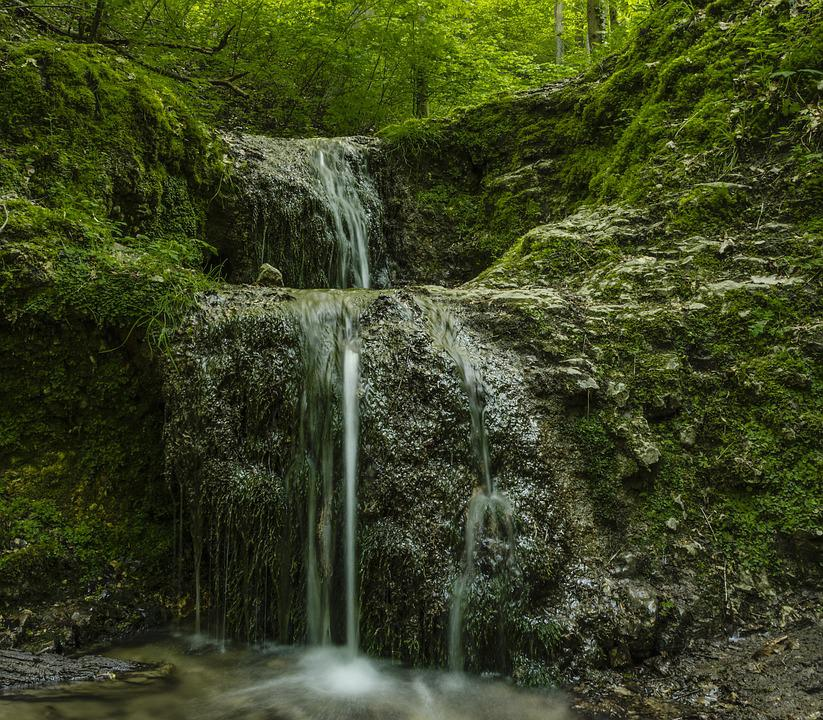 Valley Bolechowicka, Nature, Waterfall, Stream