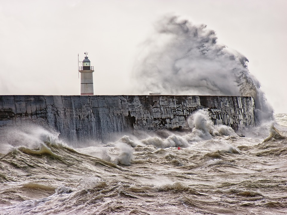 Sea, Ocean, Wave, Storm, Lighthouse, Weather, Nature