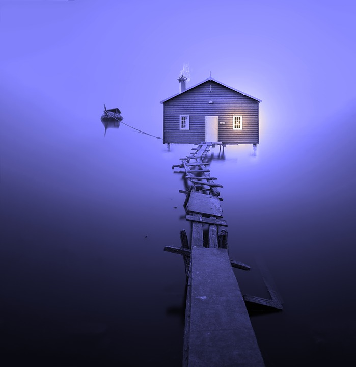 Boat House, Colourless, Foggy, Bank, Web, Water, Nature