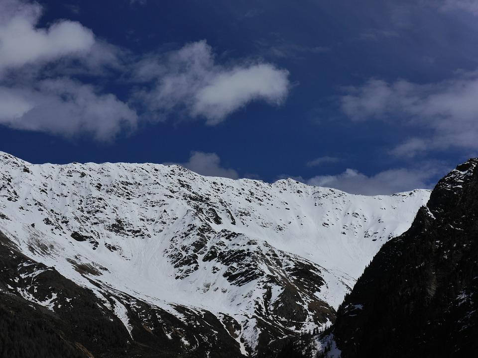 Mountains, Snow, Blue, White, Nature