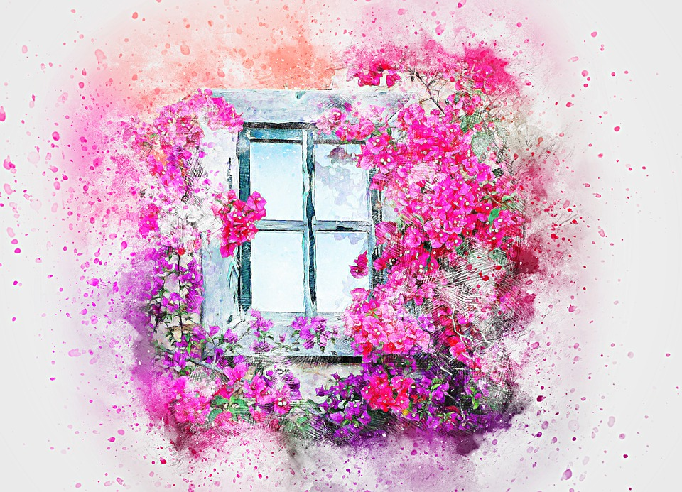 Window, Flowers, Nature, Art, Abstract, Watercolor